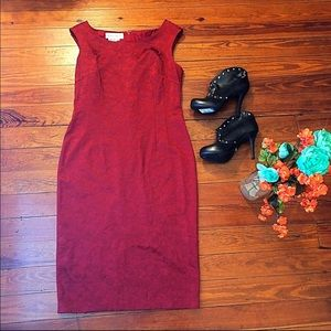 Muggy London red jacquard sheath dress 12
